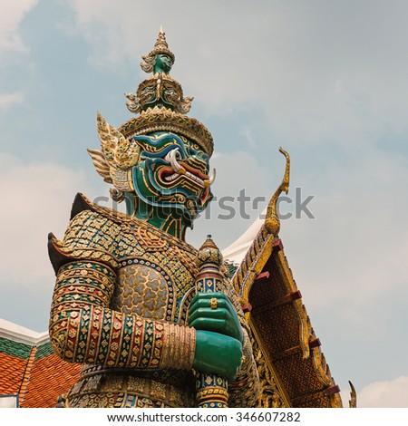 Demon Guardian Wat Phra Kaew. Grand Palace, Bangkok. Thailand. - stock photo