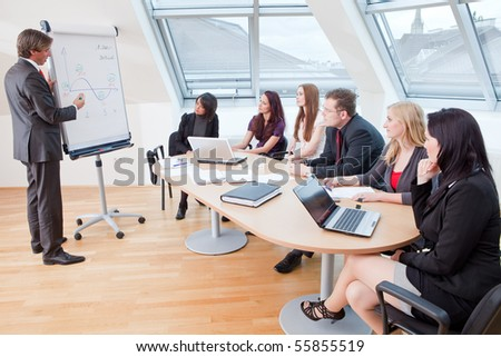 demonstrating something on the flipchart during a meeting