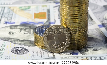 Demonstration of rising the exchange rate of Ukrainian currency grivna (hryvnia, UAH) for dollar USA (USD)  - stock photo