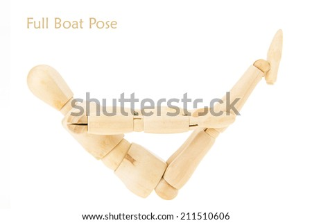 demonstration of wood manikin in full boat pose on white background. this pose is part of yoga training.
