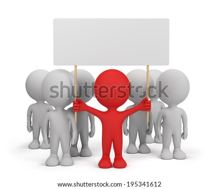 Demonstration with the leader in the first row. 3d image. White background. - stock photo