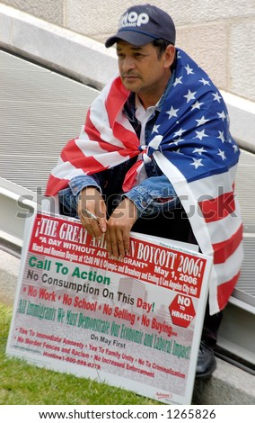 Demonstrator at Los Angeles illegal emigrant rally. May 1st 2006 - stock photo