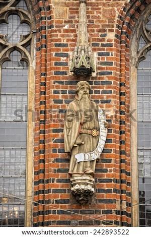 demosthenes statue on bremen city hall - stock photo