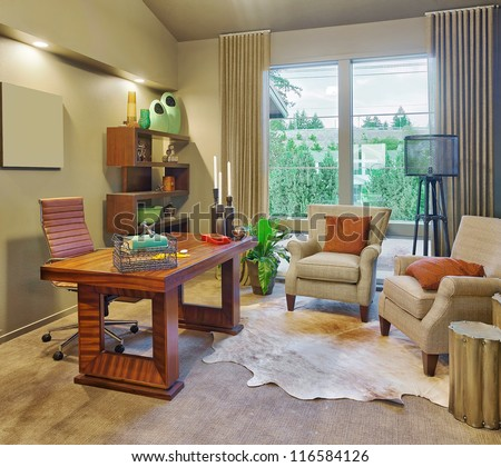 Den in Luxury Home - stock photo