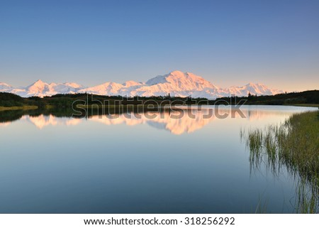 Denali Mountain and Reflection Pond, Alaska - stock photo