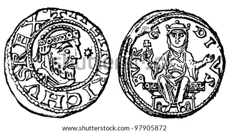 "denarius of the Emperor Henry 4, Duisburg, 1056 - 1106 - an illustration to articke ""Coins"" of the encyclopedia publishers Education, St. Petersburg, Russian Empire, 1896"