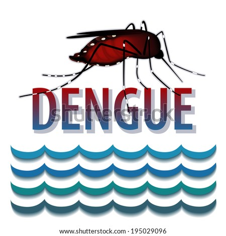 Dengue mosquito, standing water, title, graphic illustration isolated on white background.  - stock photo