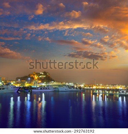 Denia port sunset dusk in marina at Alicante Spain - stock photo
