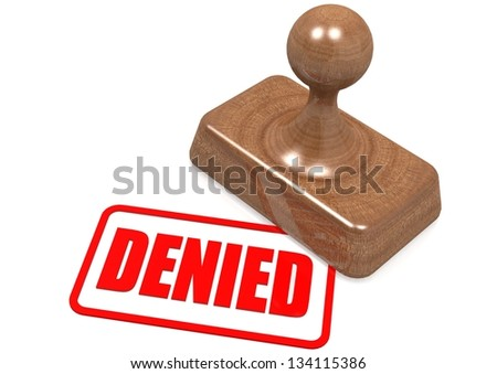 Denied word on wooden stamp - stock photo