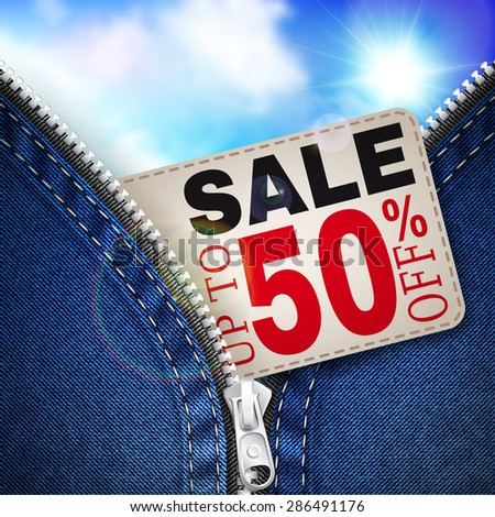 Denim background with zipper, coupon for discounts and blue sky