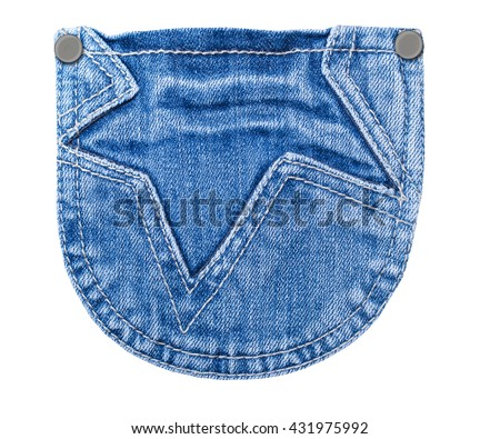 Denim jeans pocket patch with Star form patch isolated on white background, close up - stock photo
