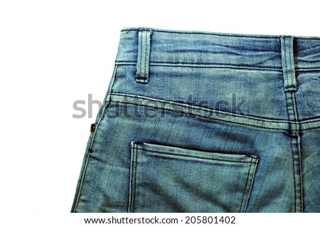 Denim Pocket Closeup ; texture background of jeans and pockets - stock photo