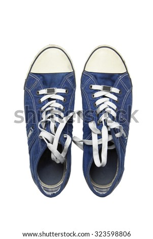 denim sneakers on a white background, isolation