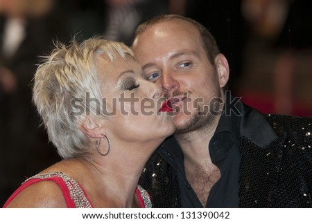 Denise Welch and Lincoln Townley arriving the UK Premiere of Run for your Wife, Odeon Cinema, Leicester Square, London. 05/02/2013 Picture by: Simon Burchell