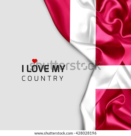 Denmark Abstract waving Flag and Plain background with Typography I Love my Country - stock photo