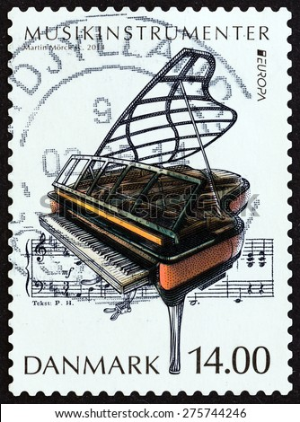 """DENMARK - CIRCA 2014: A stamp printed in Denmark from the """"Music Instruments """" issue shows Grand piano, circa 2014.  - stock photo"""