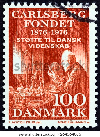 DENMARK - CIRCA 1976: A stamp printed in Denmark issued for the 100th Anniversary of the Carlsberg Foundation shows Professor Emil Hansen, circa 1976.  - stock photo