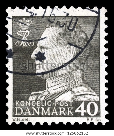 "DENMARK-CIRCA 1961: A stamp printed in Denmark, shows portrait of King Frederick IX (Christian Frederik Franz Michael Carl Valdemar Georg), without the inscriptions, series ""Frederick IX"", circa 1961 - stock photo"