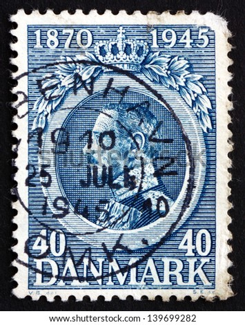 DENMARK - CIRCA 1921: a stamp printed in the Denmark shows King Christian X, King of Denmark, circa 1921 - stock photo