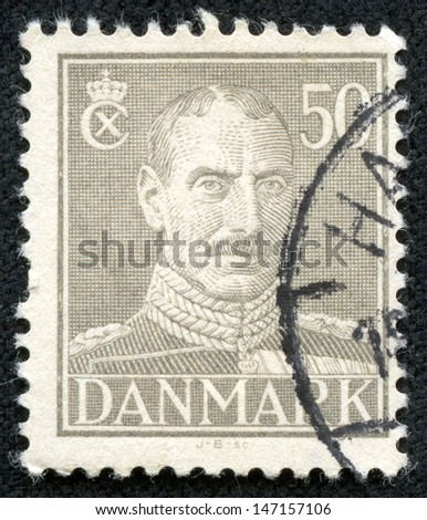 DENMARK - CIRCA 1946: a stamp printed in the Denmark shows King Christian X, King of Denmark, circa 1946 - stock photo