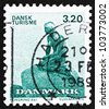 DENMARK - CIRCA 1989: a stamp printed in the Denmark shows The Little Mermaid, Sculpture by Edvard Eriksen, circa 1989 - stock photo