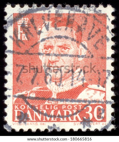 DENMARK-CIRCA 1960s:A stamp printed in DENMARK shows image of Frederick IX (Christian Frederik Franz Michael Carl Valdemar Georg), King of Denmark from 20 April 1947 until his death, circa 1960s. - stock photo