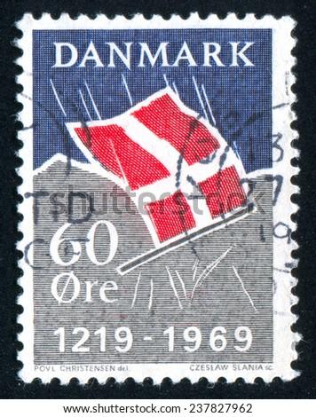 DENMARK - CIRCA 1969: stamp printed by Denmark, shows Danish Flag, circa 1969 - stock photo
