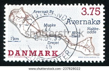 DENMARK - CIRCA 1995: stamp printed by Denmark, shows Danish Island Avernako, circa 1995 - stock photo