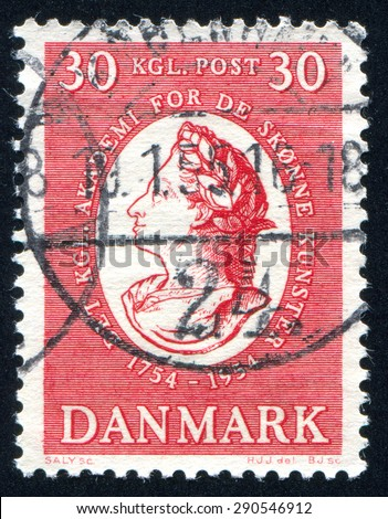 DENMARK - CIRCA 1954: stamp printed by Denmark, shows Frederik V, circa 1954 - stock photo