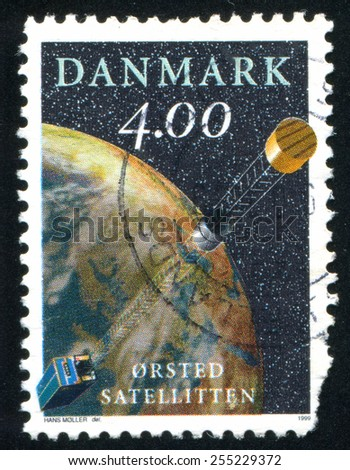 DENMARK - CIRCA 1999: stamp printed by Denmark, shows Oersted Satellite, circa 1999 - stock photo