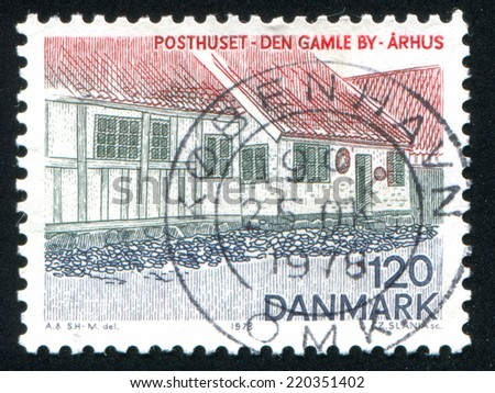 DENMARK - CIRCA 1978: stamp printed by Denmark, shows Post Office Old Town in Aarhus, circa 1978