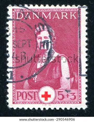 DENMARK - CIRCA 1943: stamp printed by Denmark, shows Queen Alexandrine, circa 1943 - stock photo
