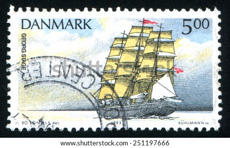DENMARK - CIRCA 1993: stamp printed by Denmark, shows schoonerm, circa 1993 - stock photo