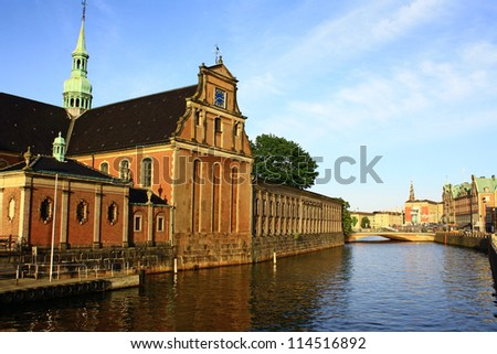 Denmark. Copenhagen. Historic architecture on the waterfront of the canal.