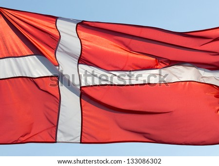 Denmark flag in the sunshine - stock photo