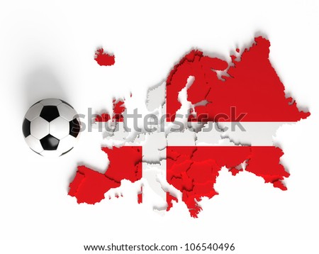 Denmark flag on European map with national borders, isolated on white background