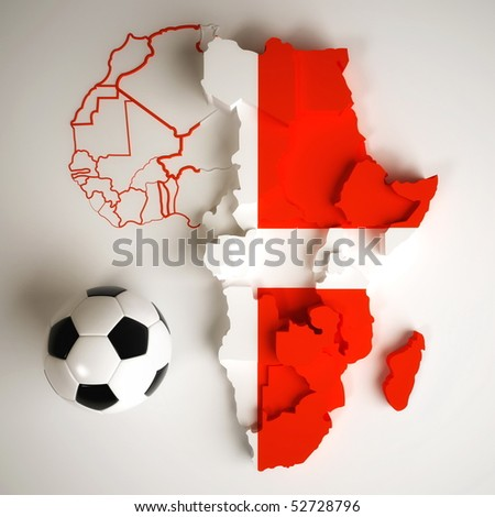 Denmark flag on map of Africa with national borders