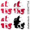 Denmark flag over map collage - stock photo