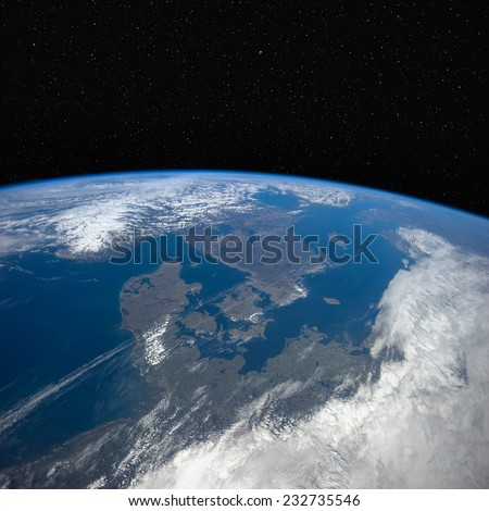 Denmark, Germany and Sweden from space with stars in the background. Elements of this image furnished by NASA. - stock photo