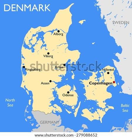 Denmark Map Stock Illustration 279088652 Shutterstock