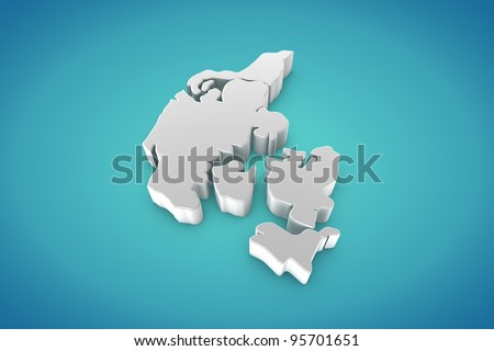 Denmark Map - stock photo