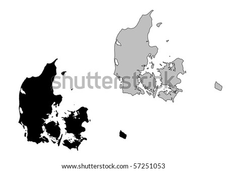 Denmark map. Black and white. Mercator projection. - stock photo
