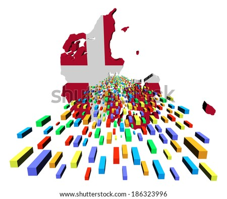 Denmark map flag with containers illustration