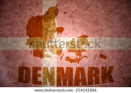denmark map on a vintage  flag background - stock photo