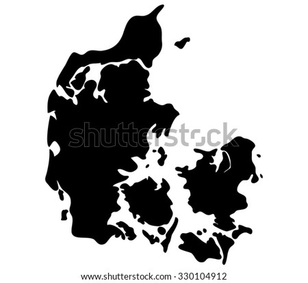 Denmark map shown on a white background