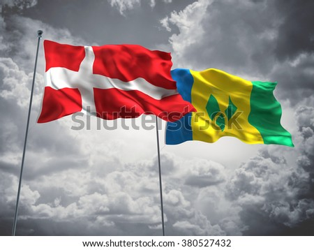 Denmark & Saint Vincent and the Grenadines Flags are waving in the sky with dark clouds