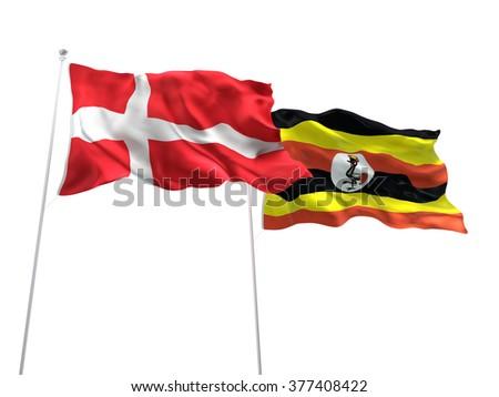 Denmark & Uganda Flags are waving on the isolated white background - stock photo