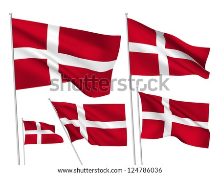 Denmark vector flags. A set of 5 wavy 3D flags created using gradient meshes. - stock photo