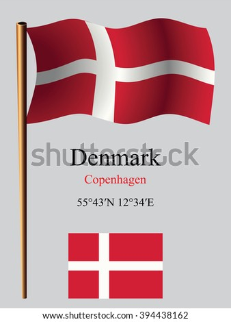 denmark wavy flag and coordinates against gray background, art illustration, image contains transparency - stock photo