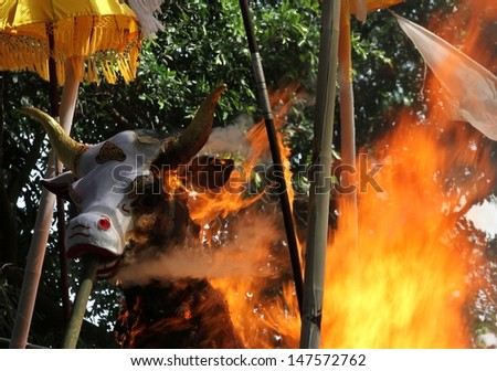 DENPASAR, INDONESIA - MAY 12:  A  closeup of the head of the white bull sarcophagus, flames leaping, during a Balinese Ngaben or cremation ceremony in Ubud, Denpasar, Bali, Indonesia on May 12, 2013. - stock photo